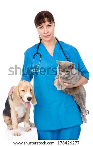 vet with cat and dog. isolated on white background - stock photo