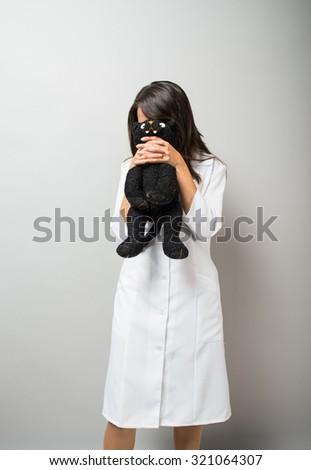vet woman  cat - stock photo