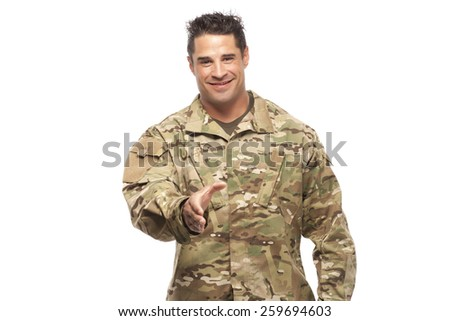 Veteran Soldier Extending Hand To Shake Isolated On White Background | Employment opportunities for servicemen transitioning to civilian world. - stock photo