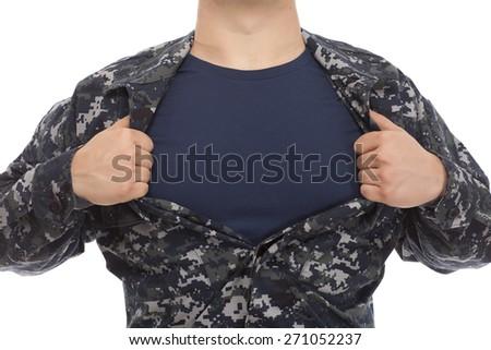 VETERAN SOLDIER HERO   Navy Sailor with a Superhero pose on white background - stock photo