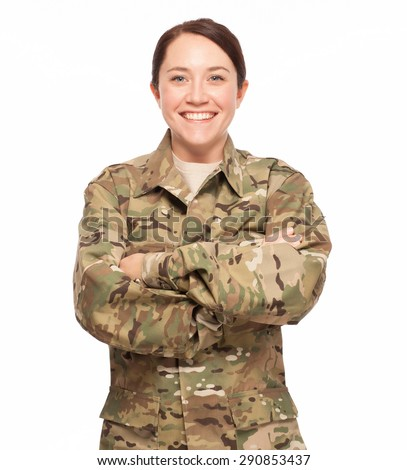 Veteran Soldier | Military female with her arms crossed. Attractive soldier wearing multicam camouflage on white background. - stock photo