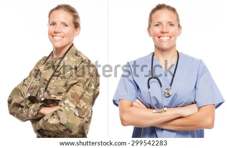 VETERAN SOLDIER | MILITARY TRANSITION TO CIVILIAN WORKPLACE | Female Army doctor or nurse in uniform on white background.  Military to civilian transition showing woman in scrubs. - stock photo