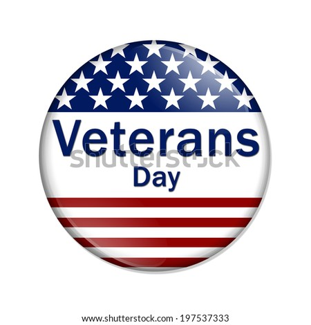 Veterans Day Button , A white button red stripes and stars with words Veterans Day isolated on a white background - stock photo