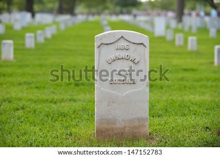 veterans memorial cemetery flags American National - stock photo