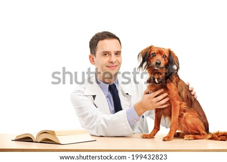 Veterinarian and a dog seated at a table isolated on white background - stock photo