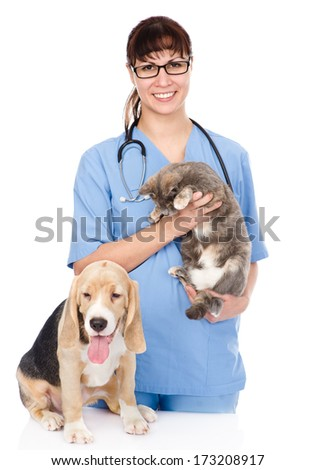 veterinarian with cat and dog. isolated on white background - stock photo