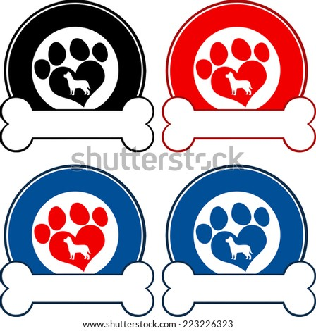 Veterinary Circle Labels With Love Paw Dog And Bone. Raster Collection Set - stock photo