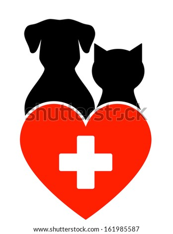 veterinary sign with dog, cat and heart with cross - stock photo