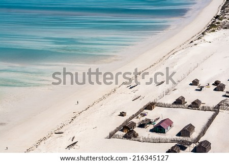 Vezo village front of the lagoon near Salary, southwestern Madagascar - stock photo