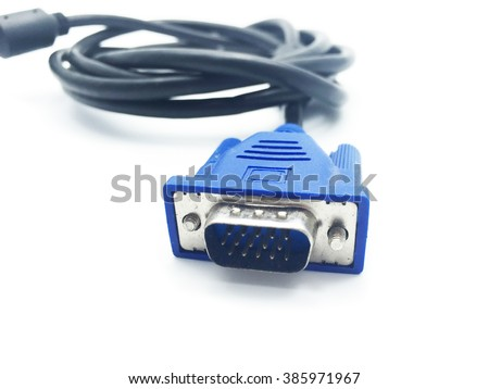 VGA connection cable isolated on white background - stock photo