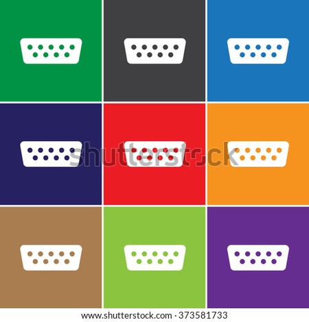 VGA connector cable icon for web and mobile - stock photo