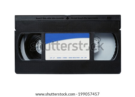 VHS tapes for recording video on isolated on white. - stock photo