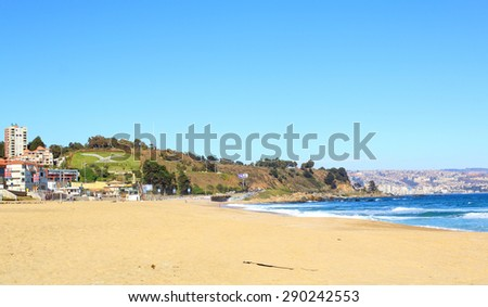 Viña del Mar, Reñaca and Valparaiso - Chile, Latin America. beach view - stock photo