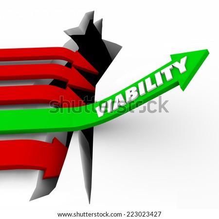 Viability word on a green arrow jumping over a crack or hole to illustrate potential or possible success or achievement - stock photo