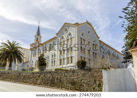 Viaceli Abbey (founded by the brothers Quiros). in Cobreces, Cantabria, Spain - stock photo