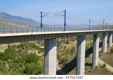 viaduct in Saragossa province, Aragon, Spain, AVE Madrid Barcelona. - stock photo