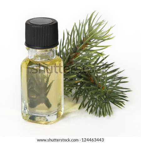 vial with essential oil and sprigs of spruce - stock photo