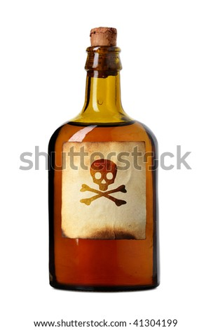 Vial with poison isolated over white background - stock photo