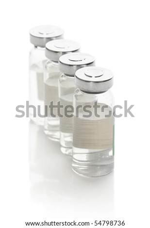 Vials with a medicine on a white background - stock photo