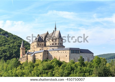 Vianden castle and a small valley, Luxembourg. - stock photo