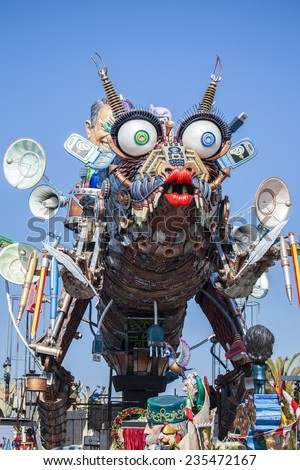 VIAREGGIO, ITALY - MARCH 6: Festival, the parade of carnival floats with dancing people on streets of Viareggio. March 6, 2011, taken in Viareggio, Italy - stock photo