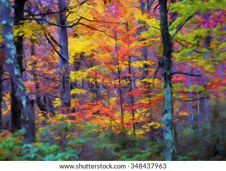 Vibrant Autumn trees with bright colorful leaves transformed into a painting - stock photo