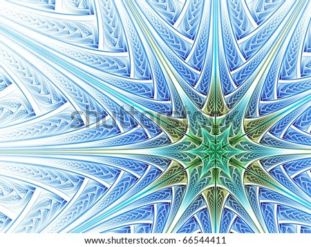 Vibrant blue, green and gray woven star on white background - stock photo