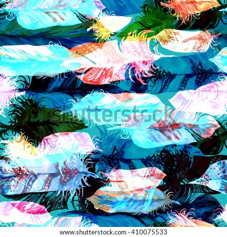 Vibrant feather seamless pattern on a black background. Watercolor boho background. - stock photo