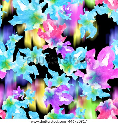 Vibrant floral pattern seamless. Watercolor painting flowers for floral textile. Colorful spring floral background. - stock photo