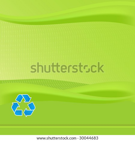 Vibrant Green report cover template. Features blue recycling symbol. Various eco friendly concepts can be promoted with this background. - stock photo
