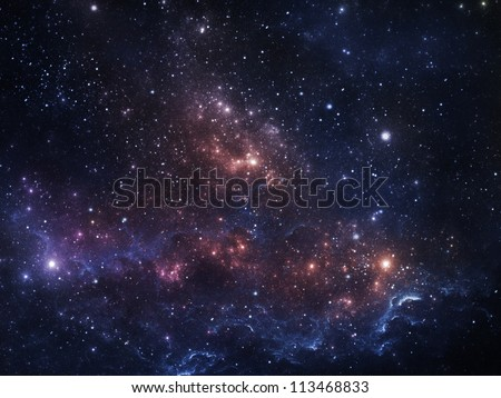 Vibrant night sky with stars and nebula - stock photo