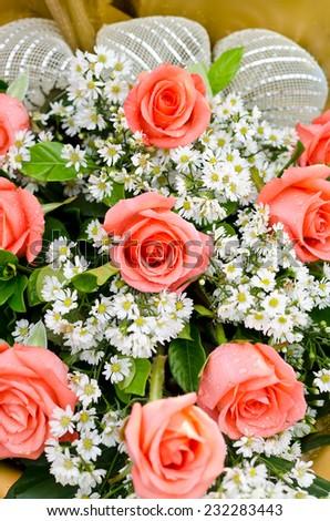 vibrant orange roses flower bouquet - stock photo