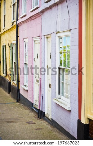 Vibrant town houses in Bungay, Suffolk - stock photo
