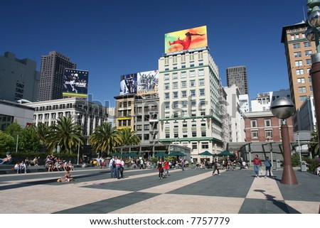 Vibrant Union Square in San Francisco - stock photo