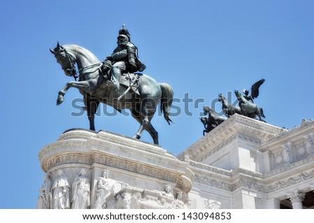 Victor Emmanuel Monument, Rome detail - stock photo