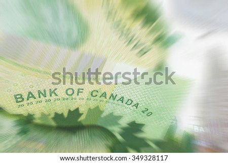 Victoria BC Thursday, February 20, 2014: Macro shot Canadian twenty dollar bills. Twenty dollar bills are the most widely used bank note in the country. Photographed in Victoria, BC, Canada.   - stock photo