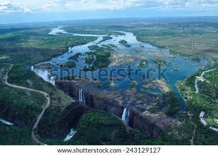 Victoria falls from the air - stock photo