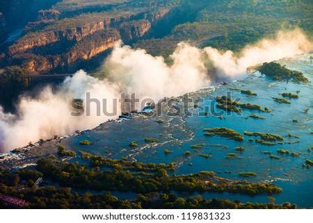 Victoria Falls seen from the air, Zambia/Zimbabwe - stock photo
