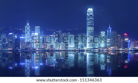 Victoria Harbor of Hong Kong  - stock photo