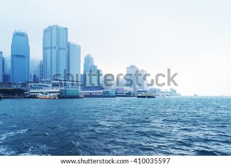victoria harbour,hongkong china. - stock photo