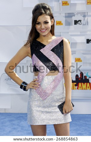 Victoria Justice at the 2015 MTV Movie Awards held at the Nokia Theatre L.A. Live in Los Angeles, USA on April 12, 2015. - stock photo
