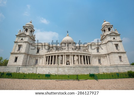 Victoria Memorial in Calcutta - India - stock photo