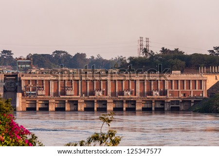 Victoria Nile River hydropower at sunset. Jinja, Uganda, Eastern Africa.	 - stock photo