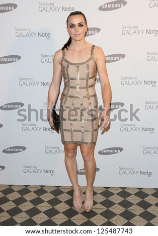 Victoria Pendleton arriving for the Samsung celebrate the launch of the Galaxy Note 10.1 held at One Mayfair London. 15/08/2012 Picture by: Henry Harris - stock photo