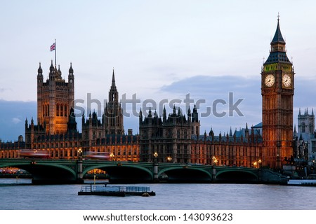 Victoria Tower and big ben at House of Parliament and City of Westminster London England UK dusk - stock photo
