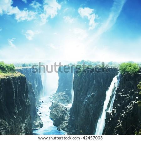 Victoria waterfall - stock photo