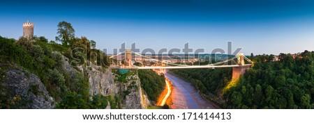 Victorian Clifton Suspension Bridge, Bristol, UK. - stock photo
