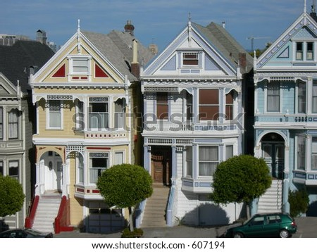 "Victorian houses ""Painted Ladies"" in San Francisco - stock photo"