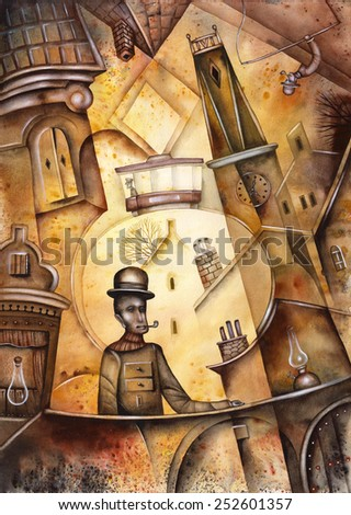 Victorian Man in the City - stock photo