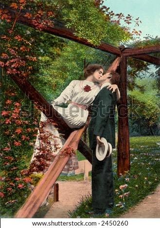 Victorian romance - couple in love - circa 1911 hand-tinted photograph - stock photo